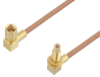 SSMC Plug Right Angle to SSMC Jack Right Angle Bulkhead Cable 6 Inch Length Using RG178 Coax -- PE3C4460-6 -Image