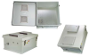 18x16x08 Fiberglass Reinf Polyester FRP Weatherproof Outdoor IP24 NEMA 3R Enclosure, Modified Base Drilled Mount Vented Lid Gray -- TEF181608-00V -Image