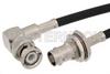 BNC Male Right Angle to BNC Female Bulkhead Cable 48 Inch Length Using RG58 Coax -- PE33189-48 -Image