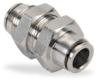 Push-to-Connect Air Fitting: bulkhead, SS, for 3/8 inch tubing -- UB38-SS