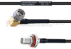 RA SMA Male to SMA Female Bulkhead MIL-DTL-17 Cable M17/119-RG174 Coax in 30 Inch -- FMHR0109-30 -Image