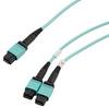 Fiber Aggregation Conversion Harness, MPO24 no pins to 2xMPO12 no pins, OM3 50/125um Multimode, LSZH Jacket, Aqua, 3 meter -- MPF24212OM3Z-CA-3 -Image
