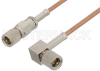 10-32 Male to 10-32 Male Right Angle Cable 72 Inch Length Using RG178 Coax, RoHS -- PE36528LF-72 -- View Larger Image