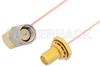 SMA Male Right Angle to SMA Female Bulkhead Cable 18 Inch Length Using PE-034SR Coax -- PE34321-18 -Image