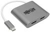 USB-C to Dual HDMI Adapter - M/2xF, Thunderbolt 3 Compatible, USB 3.1, 4K x 2K @ 30 Hz, MST, Gray -- U444-06N-2H-MST