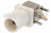 FAKRA Plug Right Angle Connector Solder Attachment Thru Hole PCB, White Color -- PE44651B -Image