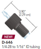 SWIVEL BARB ADAPTER, BARB TO MALE 1/4-28, 1/16 IN ID, .030 IN THRU HOLE, POLYPROPYLENE -- D-646