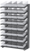Akro-Mils 1800 lb Clear Gray Powder Coated Steel 16 ga Double Sided Fixed Rack - 36 3/4 in Overall Length - 64 Bins - Bins Included - APRD18188 CLEAR -- APRD18188 CLEAR - Image
