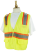 ANSI Class 2 Surveyors Style Safety Vest with Zipper and 6 Pockets -- REV-SVY220-B