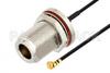 N Female Bulkhead to UMCX 2.5 Plug Cable 3 Inch Length Using 1.37mm Coax, RoHS -- PE3CA1010-3 -Image