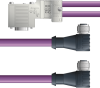 LAPP UNITRONIC® PROFIBUS® D-Sub Y-Cordset to Node Module - 5 positions female M12 90° and 5 positions female M12 90° to 9 positions D-sub node - Violet PVC - Stationary - 10m -- OLFPB4110111S10 -Image