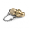 """G 3/8"""" male BSPP (ISO 228/1) x male Quick-test, no check-valve, with cap and chain, brass -- QTFT-3MB0-RS -- View Larger Image"""
