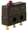 MICRO SWITCH SX Series Subminiature Basic Switch, Single Pole Double Throw (SPDT), 250 Vac, 7 A, Pin Plunger Actuator, Solder Termination, Military Part Number MS24547-1 -- 21SX39-T -Image