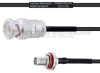 BNC Male to SMA Female Bulkhead MIL-DTL-17 Cable M17/119-RG174 Coax in 30 -- FMHR0103-30 -Image