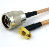 N Male to RA SMA Male Cable RG-142 Coax in 12 Inch -- FMC0104143-12 -Image