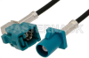 Water Blue FAKRA Plug to FAKRA Jack Right Angle Cable 36 Inch Length Using PE-C100-LSZH Coax -- PE38749Z-36 -- View Larger Image