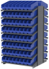 Akro-Mils 1800 lb Blue Gray Powder Coated Steel 16 ga Double Sided Fixed Rack - 36 3/4 in Overall Length - 128 Bins - Bins Included - APRD18048 BLUE -- APRD18048 BLUE - Image