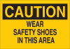 Brady B-555 Aluminum Rectangle Yellow Personal Protection Equipment (PPE) Sign - 10 in Width x 7 in Height - TEXT: CAUTION WEAR SAFETY SHOES IN THIS AREA - 42783 -- 754476-42783