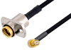 Slide-On BMA Jack 2 Hole Flange to SMP Female Right Angle Cable 12 Inch Length Using PE-SR405FLJ Coax -- PE3C4870-12 -Image