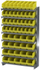 Akro-Mils 400 lb Yellow Gray Powder Coated Steel 16 ga Single Sided Fixed Rack - 36 3/4 in Overall Length - 50 Bins - Bins Included - APRSAST YELLOW -- APRSAST YELLOW - Image