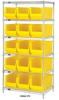 Chrome Wire Shelving Units With Hulk Containers -- HWR8-950952-Y -Image