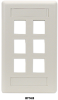 6-port Office White Single-Gang Keystone Wallplate -- WPT480 - Image