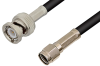 Reverse Polarity SMA Male to BNC Male Cable 72 Inch Length Using RG58 Coax, RoHS -- PE35207LF-72 -Image