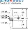 Double Tail Header Pin -- 3077-0-00-01-00-00-03-0 - Image
