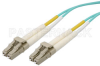 LC to LC Duplex Using 50/125 Multi Mode Fiber Optic Cable 15 Meters Length in Aqua Blue -- PE300121-15