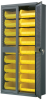 Akro-Mils 1000 lb Gray Yellow Powder Coated Steel 18 ga Non-Stackable Bin Cabinet - 18 in Overall Length - 36 in Width - 78 in Height - 18 Drawer - 18 Bins - Lockable - AC3618SV250 -- AC3618SV250 - Image
