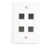 Black Box Connect Wallplate - Single-Gang, White, 4-Port, 25-Pack -- WPWH-4-25PAK-Image