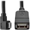 Micro USB to USB OTG Host Adapter Cable, Right-Angle 5-Pin USB Micro-B to USB-A (M/F), 6 in. -- U052-06N-RA - Image