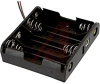 Battery Holder; AA; Polypropylene; 4; Spring; Wire Lead; 26 AWG -- 70182807
