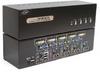 Linkskey 4-port Dual Monitor DVI/VGA USB KVM + 7.1/MIC/USB w/ cables -- LDV-DM714AUSK - Image