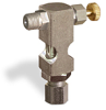 "(Formerly B1630-6X00), Inverted Angle Small Sight Feed Valve, 1/8"" Male NPT Inlet, 1/4"" OD Tube Outlet, Handwheel -- B1628-325B1HW -- View Larger Image"