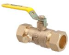2-Piece, Standard Port, Brass Ball Valve with Compression Connections -- WBVC-M1