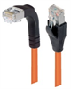 Shielded Category 6 Right Angle Patch Cable, Straight/Right Angle Down, Orange, 5.0 ft -- TRD695SRA1OR-5 -Image