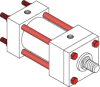 Series A Pneumatic Cylinder - Model A13 NFPA Style MX2 -- Tie-Rods Extended Blind End