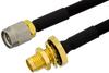 SMA Male to SMA Female Bulkhead Semi-Flexible Precision Cable 18 Inch Length Using PE-SR402FLJ Coax, LF Solder, RoHS -- PE39441-18 -Image
