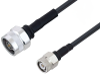 N Male to TNC Male Cable 100 cm Length Using LMR-195 Coax with HeatShrink, LF Solder -- PE3W01959LF/HS-100CM -Image