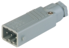 Rectangular Field Attachable Power Connector (ST Series): Male, straight with strain relief , 3-pin+PE, grey housing, 400 V AC/230 V DC, 16 A AC/10 A DC -- STAS 3 N grey - Image