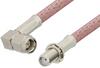 SMA Male Right Angle to SMA Female Bulkhead Cable 72 Inch Length Using RG142 Coax, RoHS -- PE3759LF-72 -Image