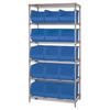 "36"" x 18"" x 74"" - 6 Shelf - Wire Shelving Unit with (15) Blue Bins -- WSBQ260B -- View Larger Image"