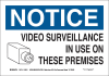 Brady B-586 Paper Rectangle White Alarm / Surveillance Notice Sign - 14 in Width x 10 in Height - TEXT: NOTICE VIDEO SURVEILLANCE IN USE ON THESE PREMISES - 116030 -- 754473-18673