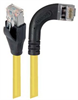 Shielded Category 6 Right Angle Patch Cable, Straight/Right Angle Right, Yellow, 7.0 ft -- TRD695SRA7Y-7 -Image