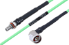 Temperature Conditioned SMA Female Bulkhead to N Male Right Angle Low Loss Cable 36 Inch Length Using PE-P160LL Coax -- PE3M0196-36 -Image