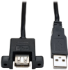 1-ft. Panel Mount USB 2.0 Extension Cable (USB A M/F) -- U024-001-PM - Image