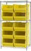 Shelving, Wire Shelving Kit, 24x36x63, 10 Bins -- AWS24361288Y