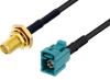 SMA Female Bulkhead to Water Blue FAKRA Jack Cable 36 Inch Length Using PE-C100-LSZH Coax with HeatShrink -- PE3W04917/HS-36 -Image