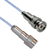 Vacuum Rated TVAC Twinaxial High Temp PFA jacket 78 Ohm TRB 3 Slot Crimp Plug to TCS Threaded Crimp Plug Pin .129